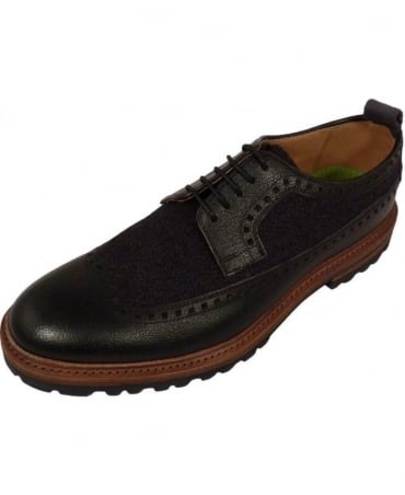 Black Brogue With Canvas Insert Ulmann Shoe