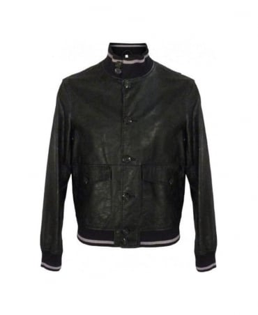 Armani Black Buttoned Mock Leather Jacket