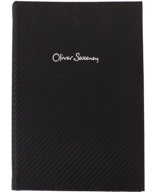 Oliver Sweeney Black Carbon Fibre Print Leather Notebook