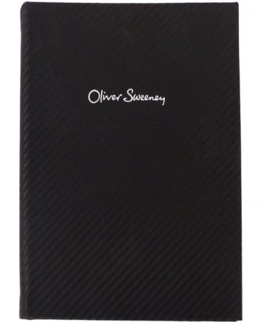 Black Carbon Fibre Print Leather Notebook