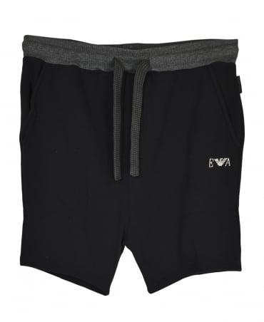 Emporio Armani  Black Contrast Ribbed Drawstring Shorts
