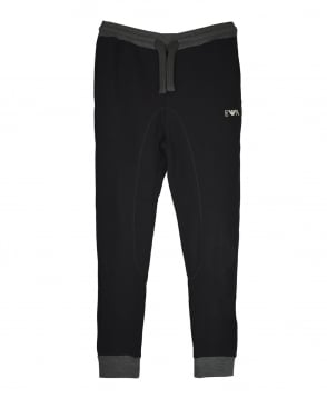 Emporio Armani  Black Contrast Ribbed Drawstring Sweatpants