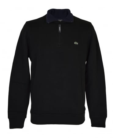 Lacoste Black Contrasting SH1925 Zip Up Sweatshirt