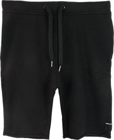 Replay Black Cotton Logo Shorts