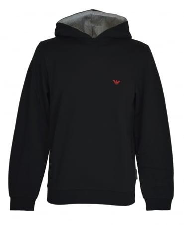Emporio Armani  Black Crew Neck Contrast Logo Sweatshirt