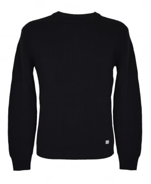 CP Company Black Crew Neck Ribbed Jumper