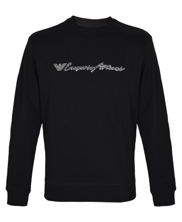 Black Crew Neck Sweatshirt With Logo