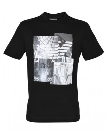 Black Crew Neck With Photographic Print T-Shirt