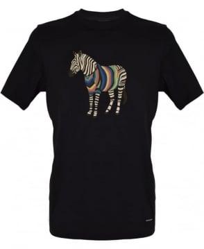 PS By Paul Smith Black Crew Neck Zebra Print T-Shirt