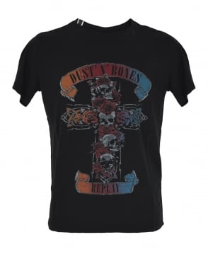 Replay Black 'Dust 'n' Bones' Print T-Shirt