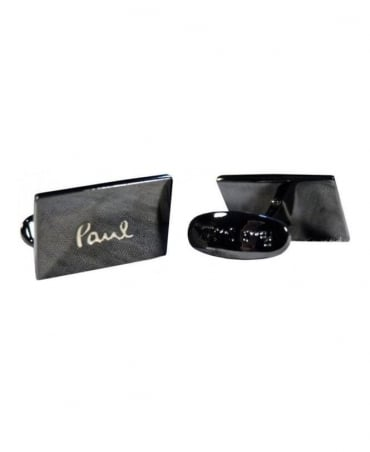 Paul Smith - Accessories Black Engrave Logo Cufflinks
