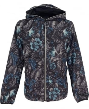 Replay Black Floral Reversible Jacket With Hood