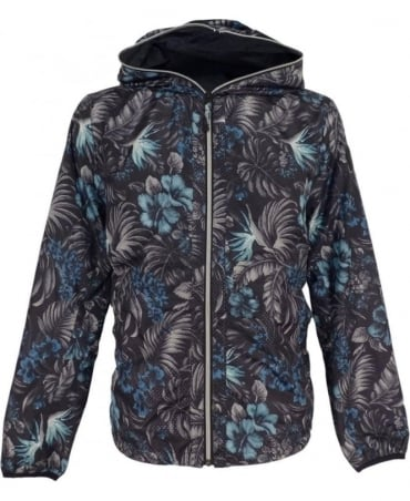 Black Floral Reversible Jacket With Hood