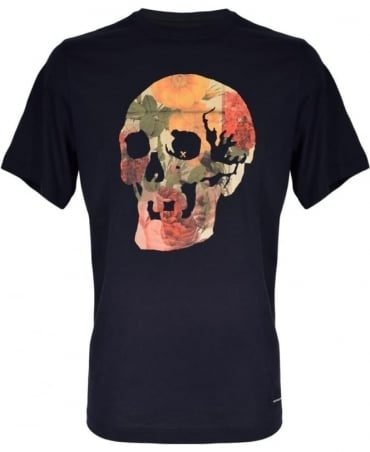 PS By Paul Smith Black 'Floral Skull' Print T-Shirt