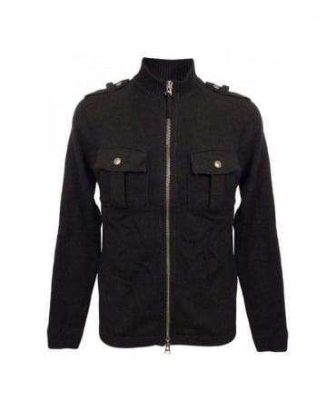 Armani Black Full Zip Funnel Neck Knitwear U6W59