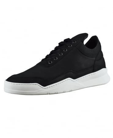 Filling Pieces Black Ghost Matt Nubuck Low Top Trainers