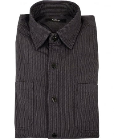 Replay Black & Grey Fine Stripe Shirt