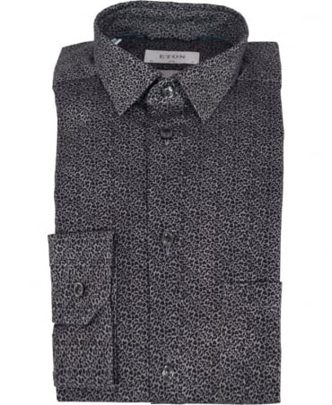 Eton Shirts Black/Grey Flannel Camouflage Print Shirt