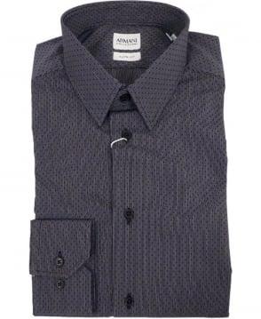 Armani Black/Grey Micro-Patterned Slim Fit Shirt