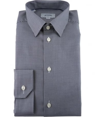 Eton Shirts Black Hound's Tooth Twill Shirt