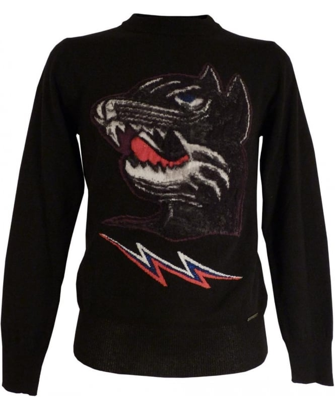 Diesel Black K-Baddog Chest Motif Knitwear