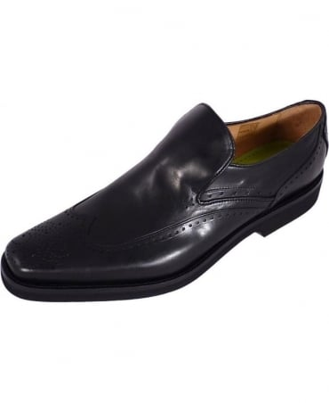 Black Lapillo Brogue Slip On Shoe