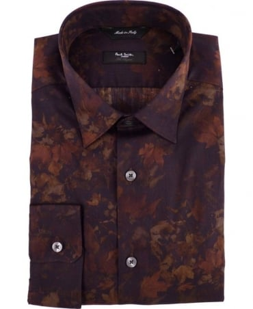 Paul Smith - London Black Leaf Print Byard Shirt