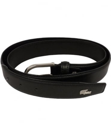 Lacoste Black Leather Metal Logo Belt RC1422
