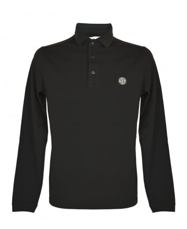 Stone Island Black Long Sleeve Polo