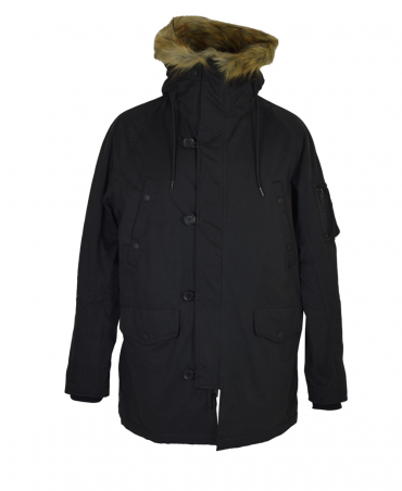 Black M8869 Faux Fur Hooded Blouson