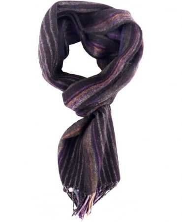 Black Made In British Isles Stripe Scarf