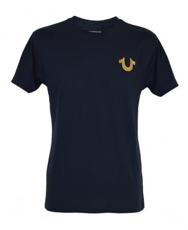 True Religion Black MD086C067F Metallic Gold Buddha T-Shirt