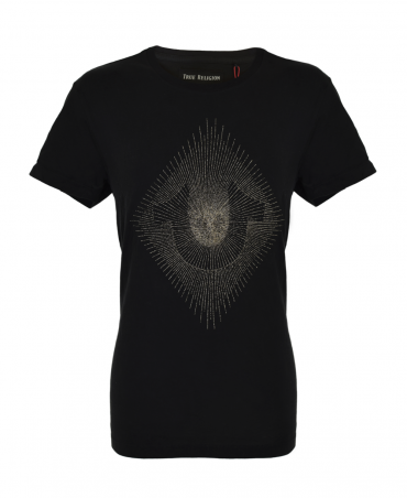 Black Metallic Embroidered String Tee