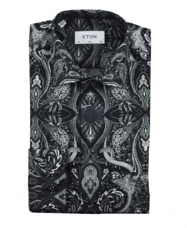 Eton Shirts Black Paisley Print Slim Fit Shirt