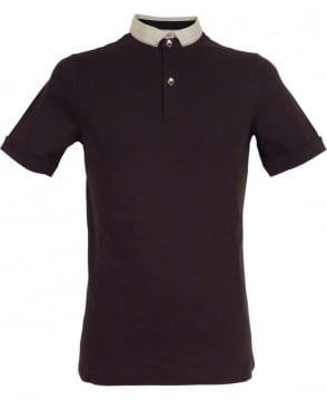Armani Black Patterned Collar Polo