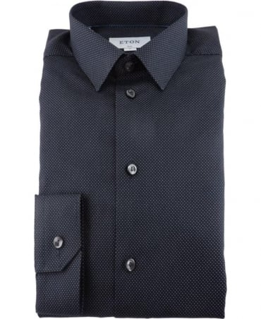 Eton Shirts Black Polka Dot Twill Shirt