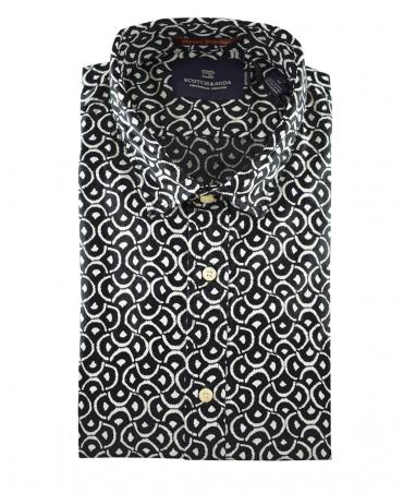 Scotch & Soda Black Printed Pattern 139599 Shirt