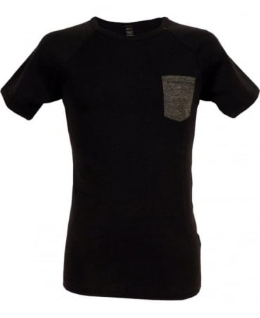Replay Black Rib T-shirt With Pocket
