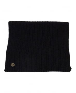 Hugo Boss Black Ribbed Logo Scarf