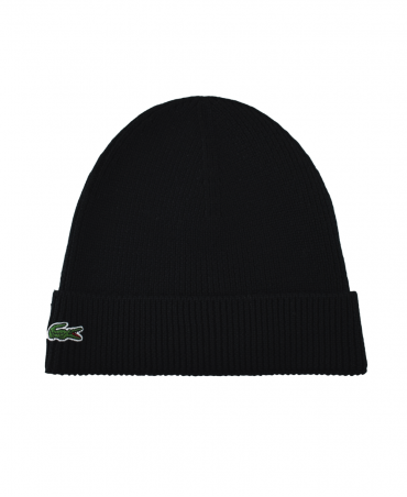 Lacoste Black Ribbed RB3502 Beanie