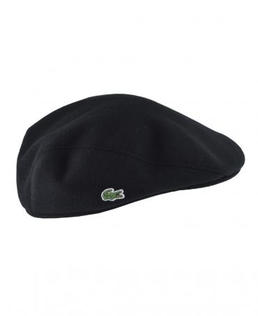 Lacoste Black RK9814 Wool Broadcloth Flat Cap