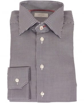 Eton Shirts Black Slim Fit Houndstooth Checked Shirt