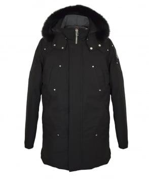 Moose Knuckles Black Stirling Fur Hooded Parka Jacket