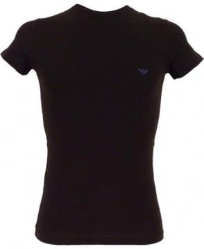 Armani Black Stretch Cotton Crew Neck T-shirt