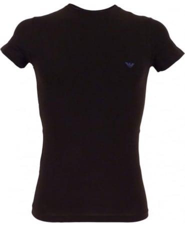Emporio Armani  Black Stretch Cotton Crew Neck T-shirt