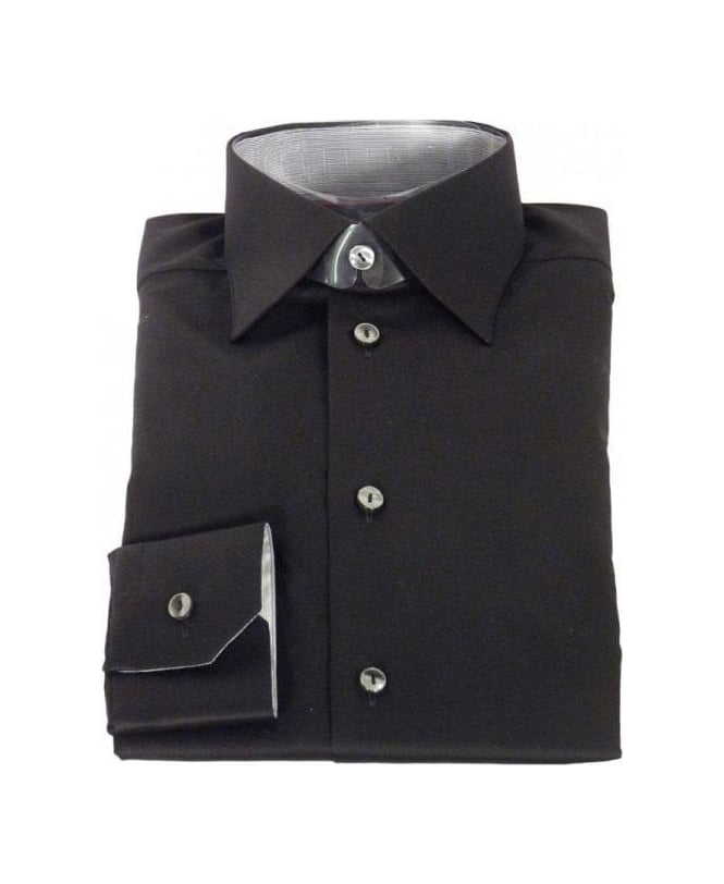 Eton Shirts Black Stretch Cotton Shirt