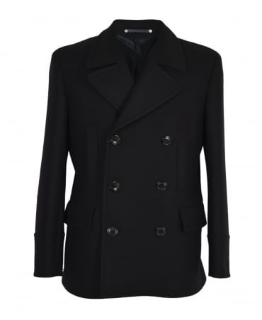 PS By Paul Smith Black Twill Reefer Jacket