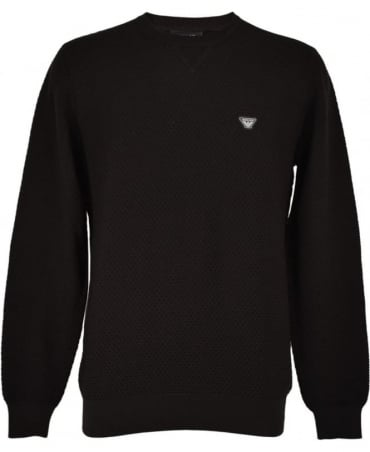 Armani Jeans Black Waffle Knitted Jumper