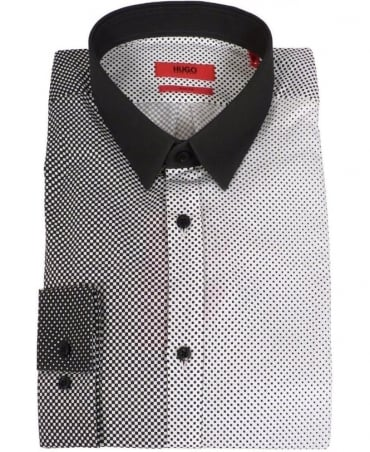 Black & White Check Ero3 Slim Fit Shirt