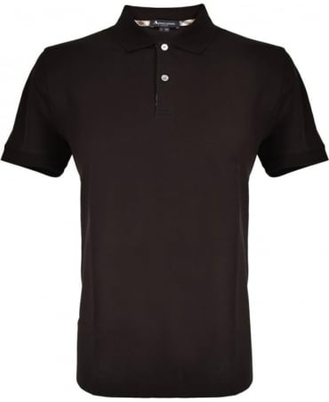 Aquascutum Black With Club Check Hector Polo Shirt